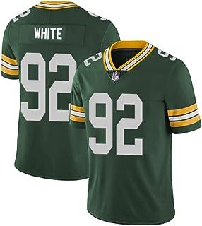 メンズラガーシャツ, メンズラグビージャージアメリカフットボールシャツRugby Jersey番号92 WHITE 、綿の半袖スポーツウェア、日常着やラグビー競技に最適 (Color : 緑, Size : S)