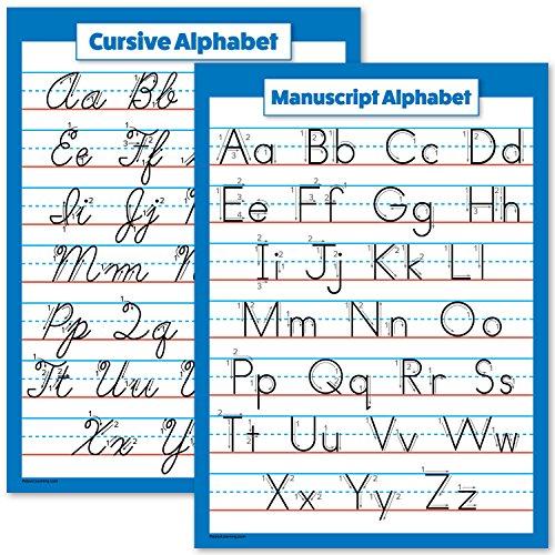ABC Alphabet - Cursive Chart & Manuscript Poster - Laminated 2 Poster Set (Laminated, 18 x 24)