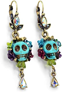 Day of the Dead - Skull Earrings - Dia de los Muertos Earrings - Calavera Earrings - Dia de Muertos Jewelry - Colorful Skull Earrings, Mexican Jewelry (Turquoise) …