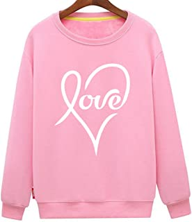 Men's Love Heart Design Cute Casual Loose Sweatshirt