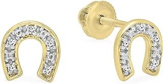 0.06 Carat (ctw) Round White Diamond Horse Shoe Stud Earrings