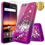NageBee Glitter Liquid Quicksand Case Compatible ZTE Blade Vantage/Fanfare 3 /Avid 4 /Tempo X/AVID (557)/ZFive G/ZFive C LTE (Z557BL,Z558VL)/Tempo GO w/[Tempered Glass Screen Protector]-Pink/Purple