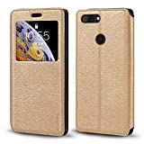 ZTE Blade V9 Case, Wood Grain Leather Case with Card Holder
