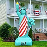 BLOWOUT FUN 8ft Tall Patriotic Independence Day 4th of July Inflatable Patriotic Green Statue of Liberty LED Blow Up Lighted Decor Indoor Outdoor Holiday Art Decor Decorations