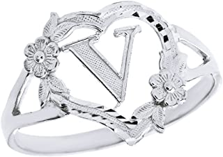 CaliRoseJewelry Silver Initial Alphabet Personalized Heart Ring - Letter V