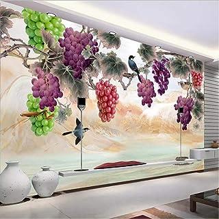 hhlwl 3D Wallpaper Waterproof Hand Painted Grape Flower Bird Large Mural Living Room Sofa Bedroom Wall Painting Papel De P...