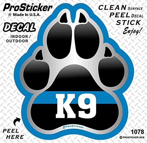 ProSticker 1078 (One) 4' Patriot Series K9 Paw Thin Blue Line Support Decal Sticker
