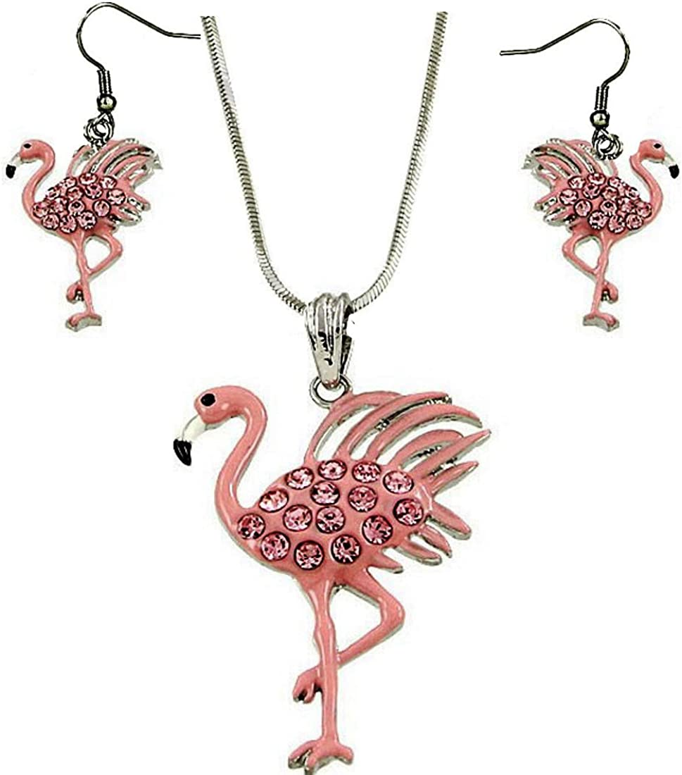 DianaL Boutique Beautiful Pink Flamingo Pendant Necklace and Earrings Set 18