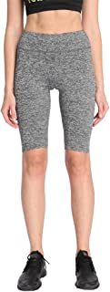 BLAU GRUN Women's Workout Shorts Stretchy Yoga Shorts Active Fitness Shorts with Inner Pocket