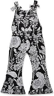 f3f5bc46ac9e Kids Little Girls Bowknot Strap Floral Jumpsuit Summer Romper Bootcut Pants  Outfits Black