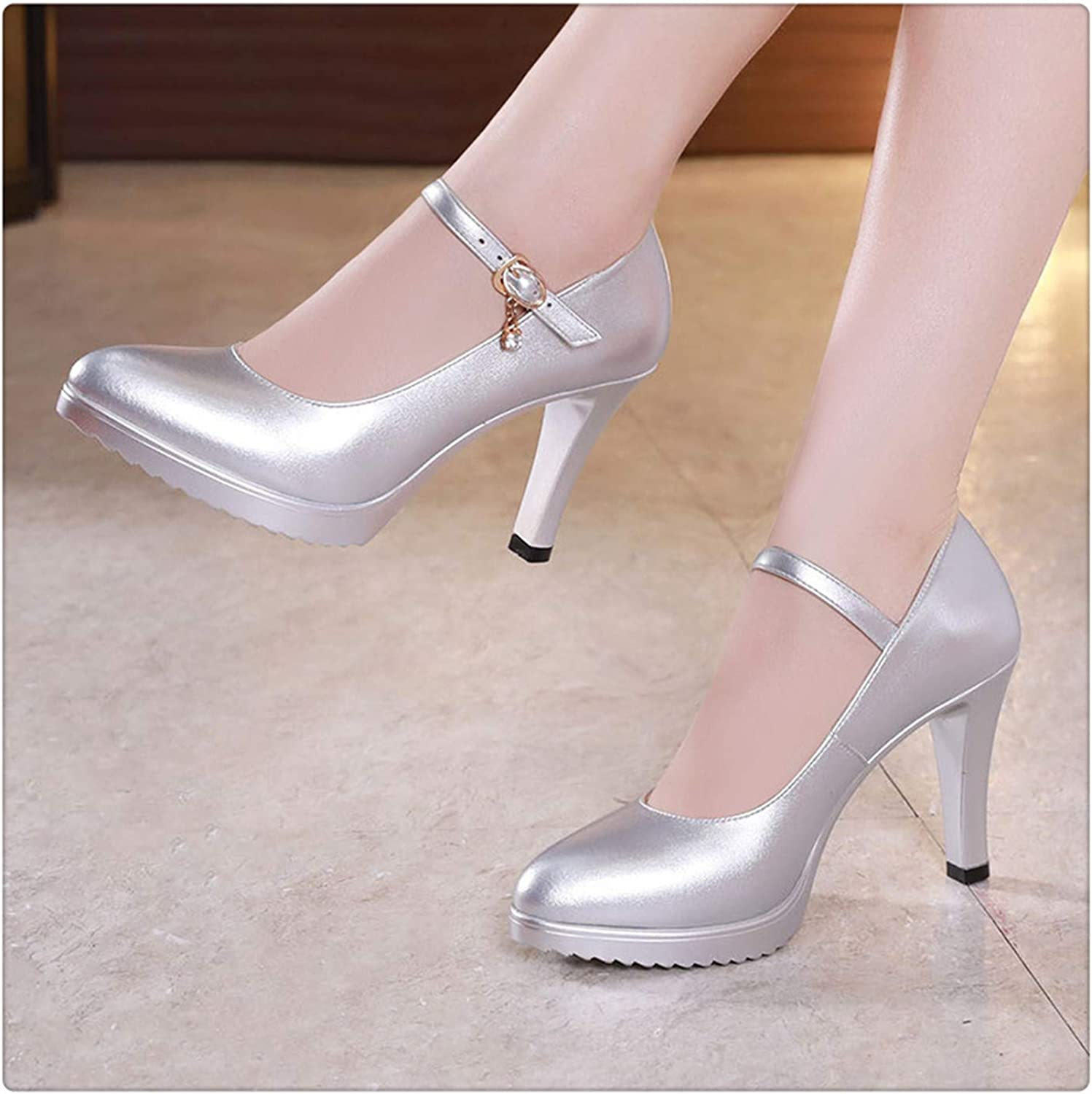 GLOPY& Pointed Toe Women Genuine Leather shoes for Wedding Women Platform Pumps with High Heels shoes for Office Work shoes Silver8CM 4