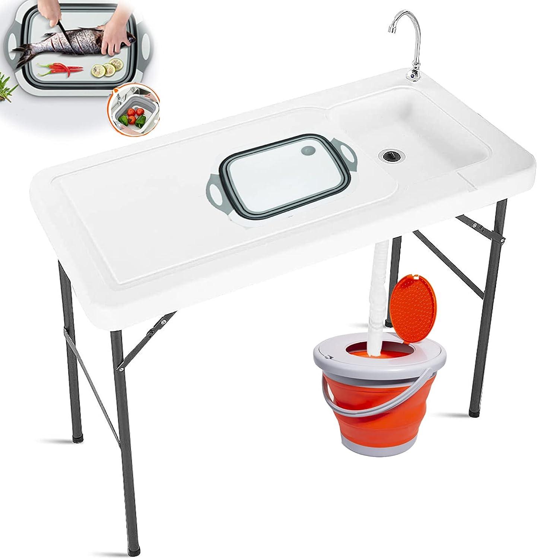 KLMN Mesa de Camping Portátil con Fregadero,con Manguera de Drenaje/Grifo de Acero Inoxidable, con Tabla de Cortar Plegable y Cubo Plegable de 10L Mesa de Limpieza Plegable