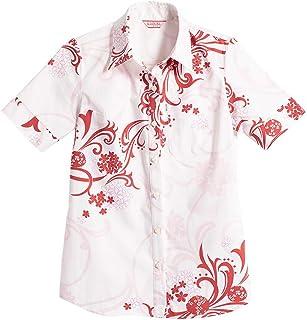 [MAJUN (マジュン)] 国産シャツ かりゆしウェア アロハシャツ 結婚式 レディース シャツ ラウンド裾 アダンバイアス