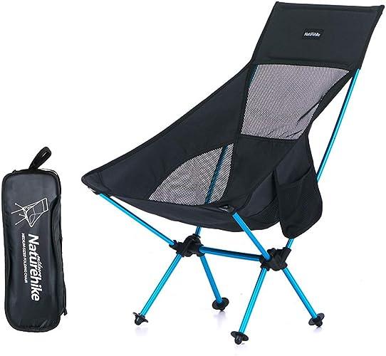 FLYSXP Chaise Tabouret Loisirs de Loisirs Portable Chaise Pliante Dos Chaise lumière siège de Plage Chaise de Camping Noir Chaise Longue