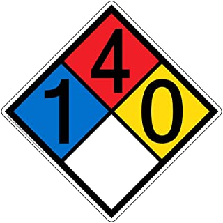 NFPA 704 1-4-0-0 Label Decal, 15 inch Vinyl for Hazmat by ComplianceSigns