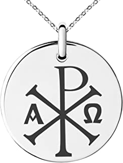 Tioneer Stainless Steel Chi Rho Alpha Omega Symbol Small Medallion Circle Charm Pendant Necklace