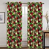 ANAZOZ 2 Cortinas Dormitorio Opaca Cortina Poliester Exterior Bolas de Decoración y Árbol de Navidad Rojo Oro Verde Cortinas Ventana 264x244CM