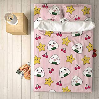 Anime Comfortable 4 Piece Bedding Set,Happy Crying Cute Cartoon Rice Balls Cherries Stars Pattern on Stripes Art for Hotel,One Side Print : Double