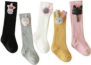 5 paris linda caricatura calcetines hasta las rodillas de las niñas,bebés niñas algodón calcetines largos por 0-3 años