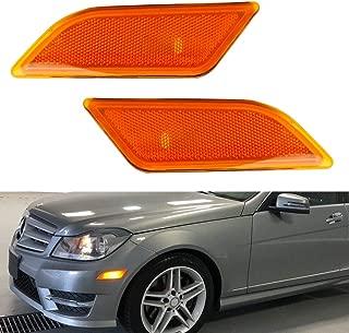 iJDMTOY OEM-Spec Amber Lens Front Bumper Side Marker Lamp Housings For 2012-2014 Mercedes W204 LCI C250 C300 C350 C-Class