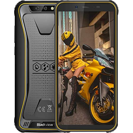 "Movil Antigolpes, Blackview BV5500 Plus Android 10 Teléfono Robusto 3GB+32GB (SD 128GB), 8MP+0.3MP+5MP, Batería 4400mAh, Smartphone 4G de 5.5"" HD+ Móvil Resistente, Dual SIM/NFC/Face ID/GPS-Amarillo"
