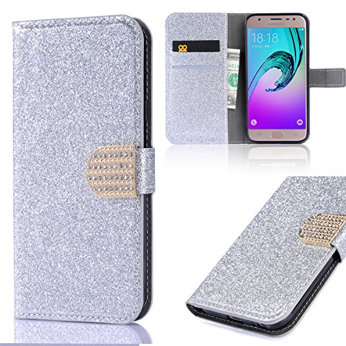 Flip Wallet Case for Galaxy S6 Edge Silver Glitter Cool Cute 3D Diamond Buckle Bling Glitter Pattern Leather Flip Kickstand Book Wallet Buckle Protective Cell Phone Cases for Samsung Galaxy S6 Edge
