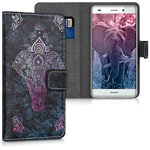 kwmobile Funda Compatible con Huawei P8 Lite (2015) - Carcasa de Cuero sintético Elefante artístico - con Tarjetero