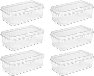 Sterilite 18058606 Large Flip Top, Clear, 6-Pack