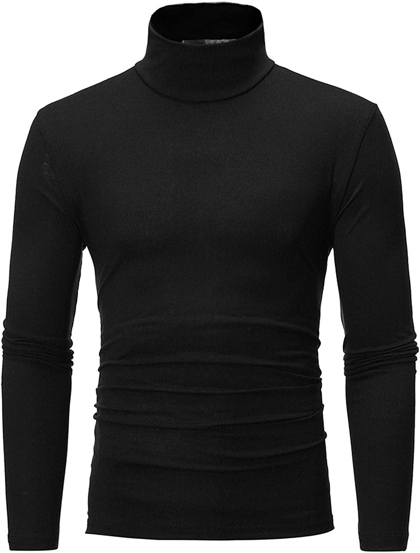 Uppada Men's Turtleneck Sweaters Long Sleeve Shirt Solid Color Sweatshirts for Men Stretch Slim Fit