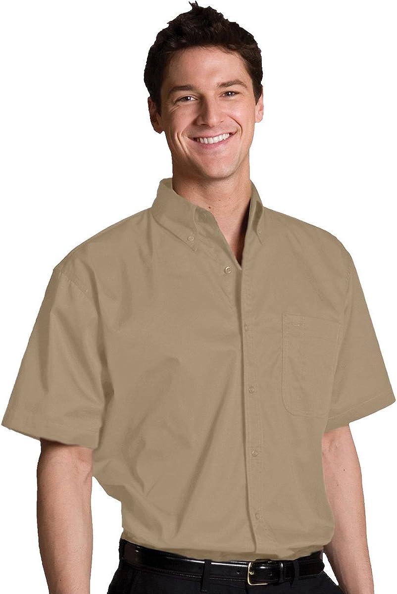 Ed Garments Men's Big and Tall Short Sleeve Button Down Shirt, TAN, 6XLT