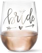 Bride Wine Glass (Metallic Silver) - 20 oz Stemless Wine Glass | Bridal Shower Gift for Bride| Wedding Shower | Anniversary Present | Newly Married | Just Married | Wedding Day