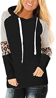 Ulrico1 Womens Long Sleeve Leopard Color Block Hoodies Pullover Sweatershirt Casual Loose Fit Hoody Blouse with Pocket