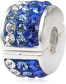 Ningan Breloque en forme de flocon de neige en argent sterling 925 avec cristaux bleus et zircons transparents pour bracelets autres bracelets europ/éens