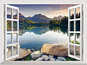 wall26 Removable Wall Sticker/Wall Mural - Peaceful Lake in Autumn | Creative Window View Wall Decor - 24