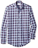 BUTTONED DOWN Men's Slim Fit Supima Cotton Cutaway-Collar Dress Casual Shirt, Large Navy/Berry Check, L 32/33