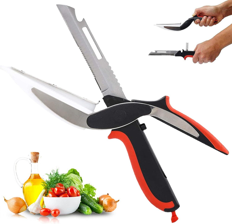 Salad Scissors - Clever Cutter 6 in 1 Food Chopper, Multi-Function Chopping Scissors Food Scissors, Salad Chopper Scissors & Cutting Board, Bottle Opener, Peeler