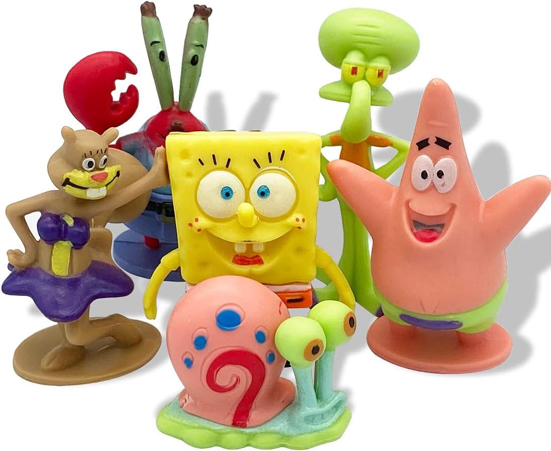 6 Pezzi Mini Personaggio Cappello a Cilindro per Torta, Mini Personaggi Acquario Kit, Per la Decorazione della Torta della Festa di Compleanno o Acquario Decorazioni
