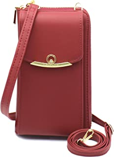 Cyber Deals Monday Sales Womens Purse Leather Cellphone Holster Wallet Case Small Crossbody Shoulder Phone Bag Pouch Handbag Clutch for iPhone 11 Pro 8 7/6 Plus Xs Max X Xr Samsung S10+ (Z-Maroon)