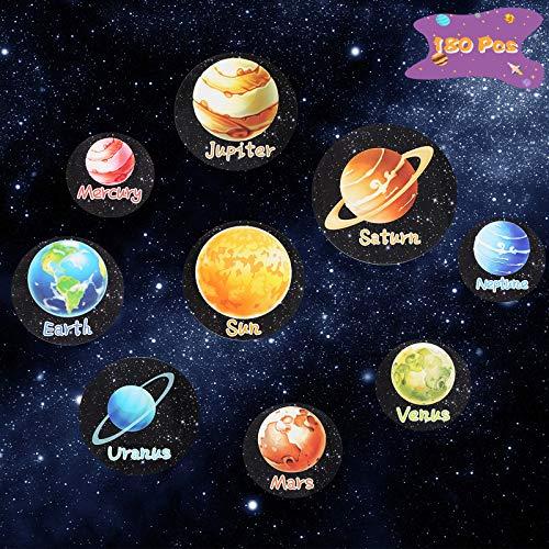 ZERHOK Sonnensystem Aufkleber, 180Pcs Kinder Planet Sticker Weltraum Kindersticker Neun Planeten Sonne Erde für Space Mottoparty Mitgebsel Kinderzimmer Wandaufkleber Lernaktivitäten