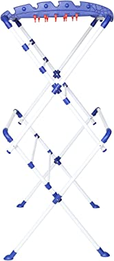Happer Premium Plastic, Alloy Steel Extra Large Cloth Drying Stand, Sumo (White & Blue)
