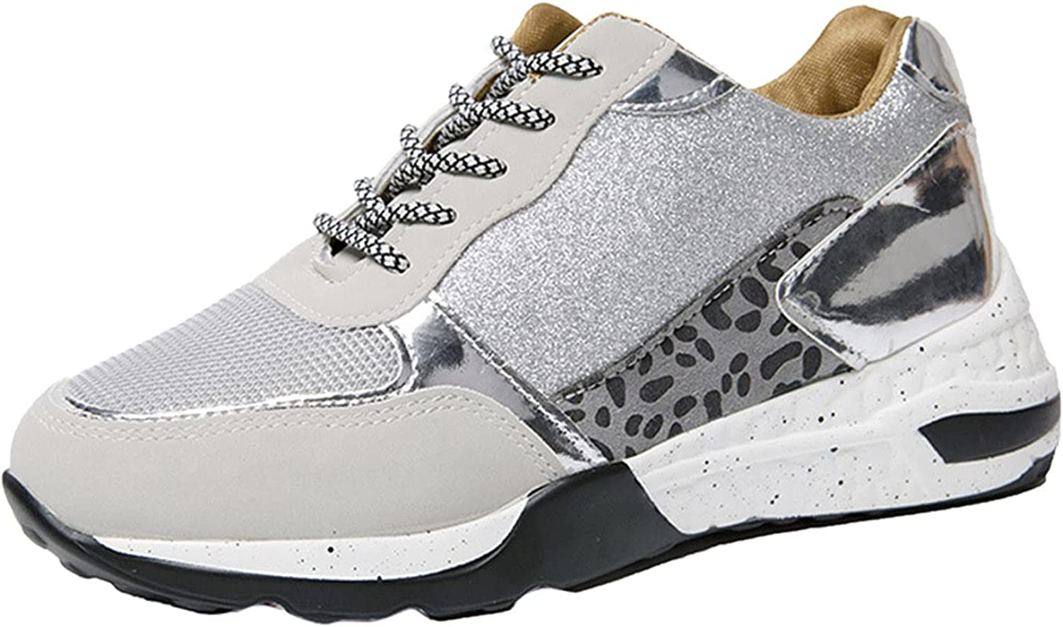 HLENLO Women's Walking Shoes, Women Casual Slip On Sport Shoes Breathable Sequins Shoes Running Tennis Shoes Ladies Sneakers
