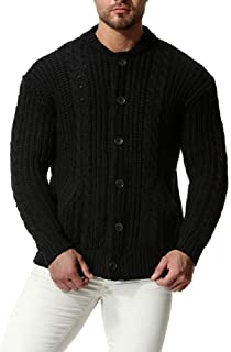neveraway Men's Pure Color Mock Neck Pea Coat Sweater Knitted Cardigan