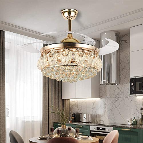 """lowest Ruiwing 42"""" Luxury Ceiling Fan with LED discount Light Modern Gold Crystal Chandelier Remote Retractable Fandelier 4-Blade 3 Speeds 3 Colors Silent discount Ceiling Fans for Indoor Living Room Bedroom Restaurant outlet sale"""