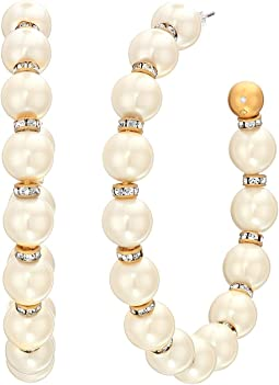 Pearls Pearls Pearls Large Hoops Earrings