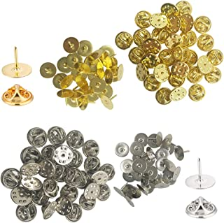 YuCool 60 Pack Butterfly Clutch with Blank Pins, Pin Backs Tie Tacks Replacement for Craft&Jewelry Making-(30 Silver and 30 Gold)