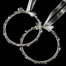 Nicoletta Ivory Flower & Pearl Greek Stefana Wedding Crowns Bridal Ribbon Headband