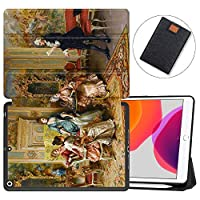 """MAITTAO iPad 10.2"""" 2019 Case with Apple Pencil Holder,Folio Stand Smart Cover Shockproof Soft TPU Back Shell For iPad 7th Generation 10.2 inch Tablet Sleeve Bag 2 in 1 Bundle,Classical Painting 12"""