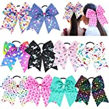 10PCS Cheer Bows for Girls 8Inch Large Hair Bows Elastic Hair Tie Hair Bands Cheerleading Bows Ponytail Holder for Baby Girls School Colleage Teens Senior Cheerleader