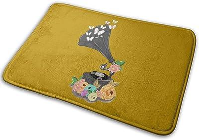 Gramophone Bloom Carpet Non-Slip Welcome Front Doormat Entryway Carpet Washable Outdoor Indoor Mat Room Rug 15.7 X 23.6 inch