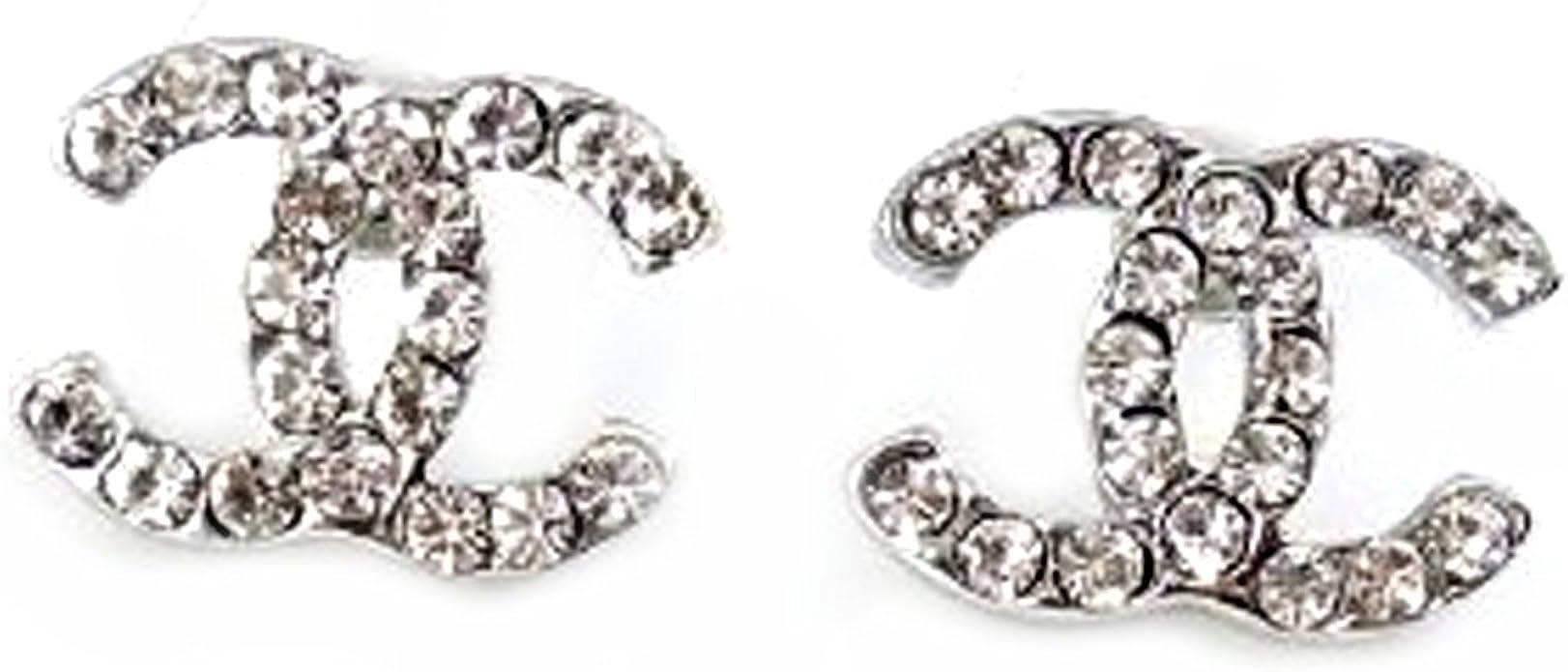 Pink ® CC versilbert Diamant-Goldfisch CC Ohrringe. Geschenk für Frauen Mädchen Kinder.: mittlerer Größe 9x9mm